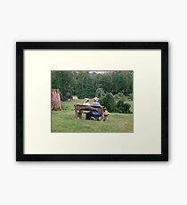Re-enactors ar Ringwood Manor - Colonial women resting and chatting Framed Print