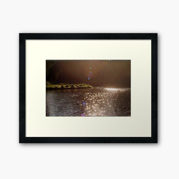 view across Trojan pond, near Goble, Oregon with flare 3 Framed Art Print