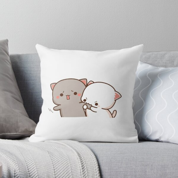 Peach and Goma Mochi Cat Bite Throw Pillow