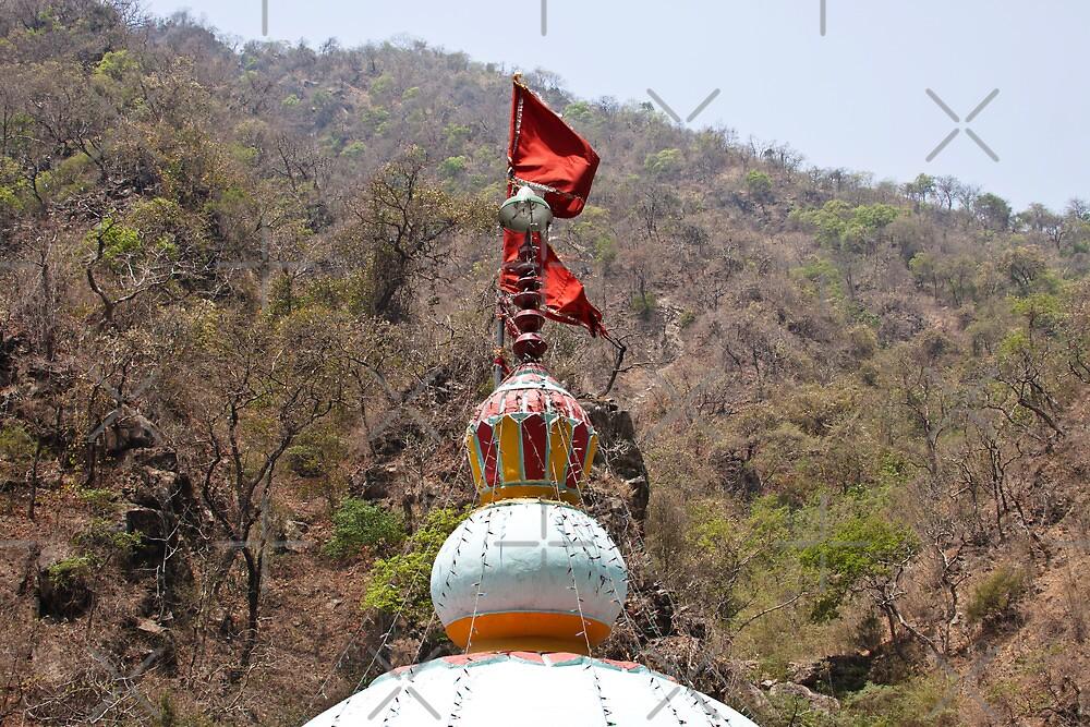 Saffron flag on top of a temple in Uttarakhand by ashishagarwal74