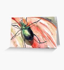 Green Carab Beetle Greeting Card