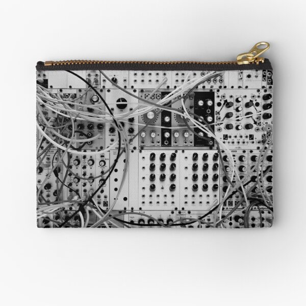 Analog Synthesizer - Modular Design - black & white Zipper Pouch