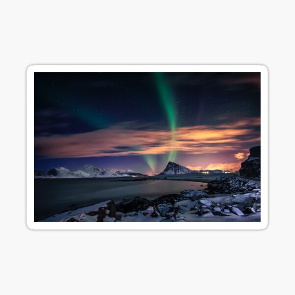 Northern landscape under colorful sky  Sticker