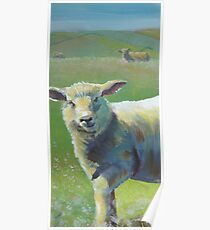 Cheeky Sheep on a hazy sunny day painting Poster