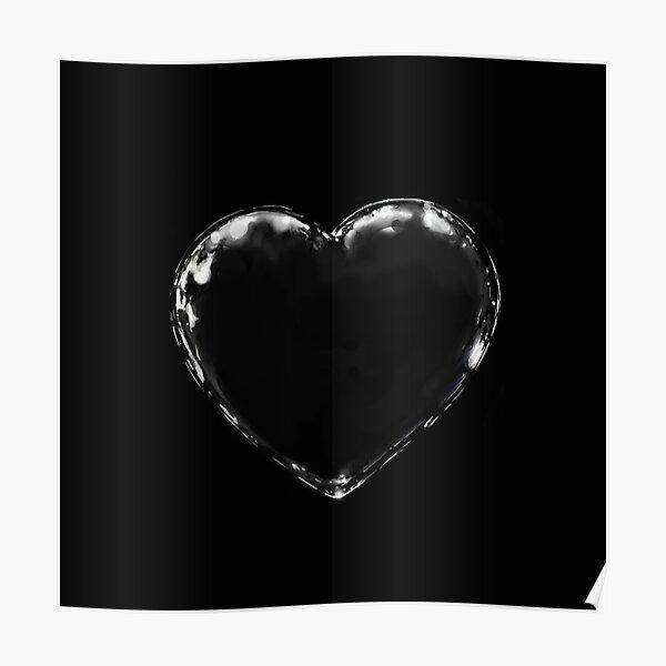 black metal heart (black on black) Poster