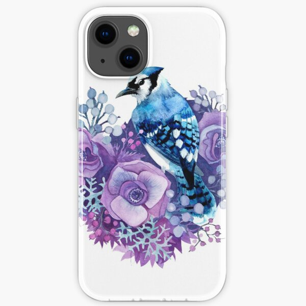 Blue Jay and Violet Flowers Watercolor  iPhone Soft Case