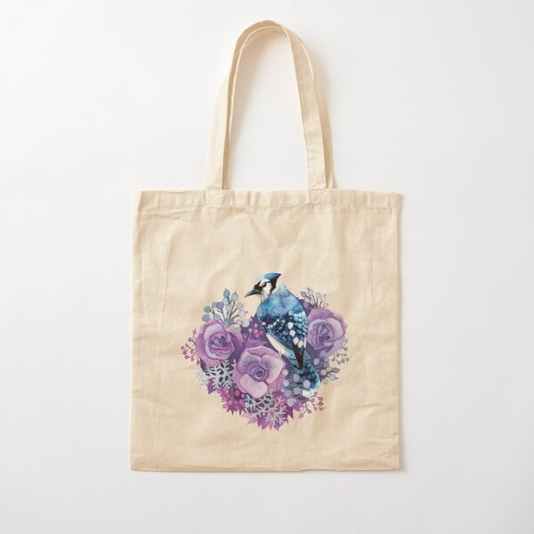Blue Jay and Violet Flowers Watercolor  Cotton Tote Bag