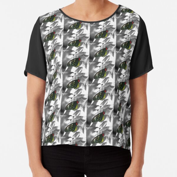 Black Butterfly On Black And White Chiffon Top