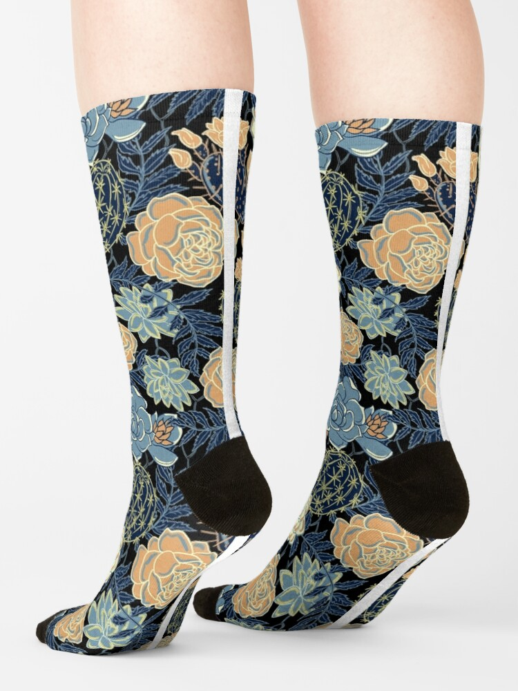 Alternate view of blue succulent Socks