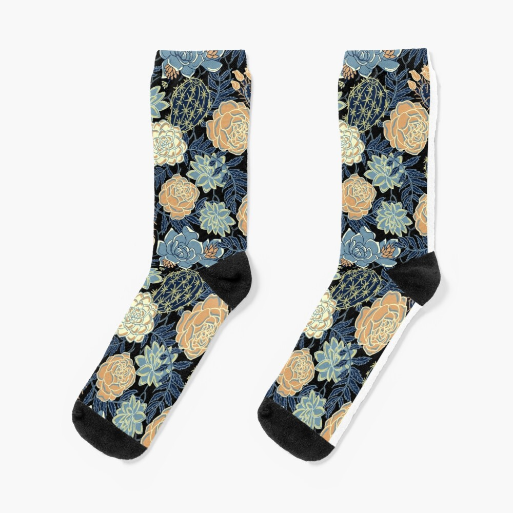 blue succulent Socks