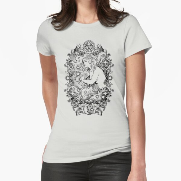 Cosmic Lovers  - ink solo version Fitted T-Shirt