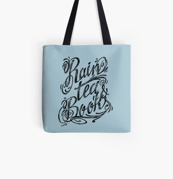 Rain, Tea, Books -lettering only- All Over Print Tote Bag