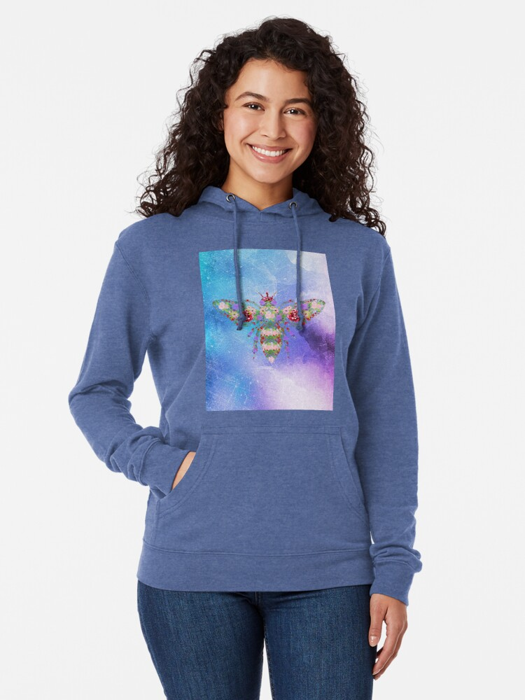 Alternate view of Distressed Watercolour Floral Bee Lightweight Hoodie