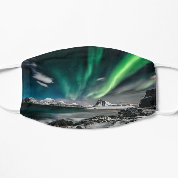 Time lapse photo of northern lights Flat Mask