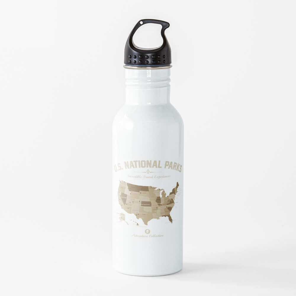 US National Parks Map Adventure Collection Hiking Camping Lover Gift  Water Bottle