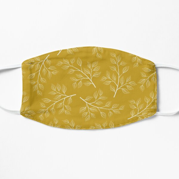 White Leaf and Branch on Yellow Mask
