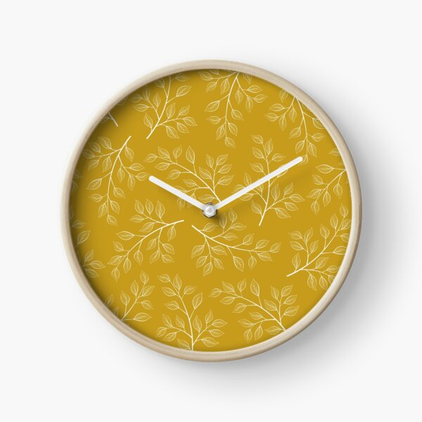 White Leaf and Branch on Yellow Clock