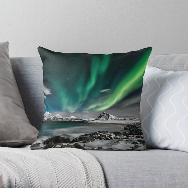 Time lapse photo of northern lights Throw Pillow