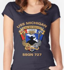USS Michigan (SSGN-727) Crest for Dark Colors Women's Fitted Scoop T-Shirt