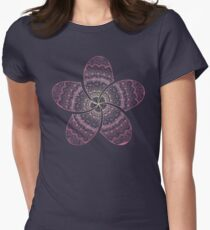 hippie pink frangipani mandala on gold coast night bokeh Womens Fitted T-Shirt