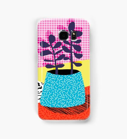 Shibby - neon 80's throwback potted plant indoor garden pink yellow red grid memphis los angeles palm springs resort hipster Samsung Galaxy Case/Skin