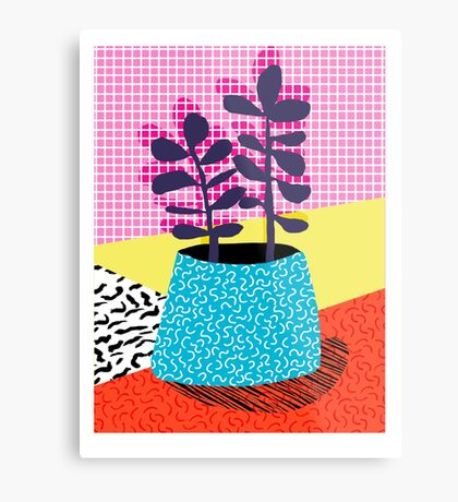 Shibby - neon 80's throwback potted plant indoor garden pink yellow red grid memphis los angeles palm springs resort hipster Metal Print