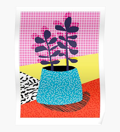 Shibby - neon 80's throwback potted plant indoor garden pink yellow red grid memphis los angeles palm springs resort hipster Poster