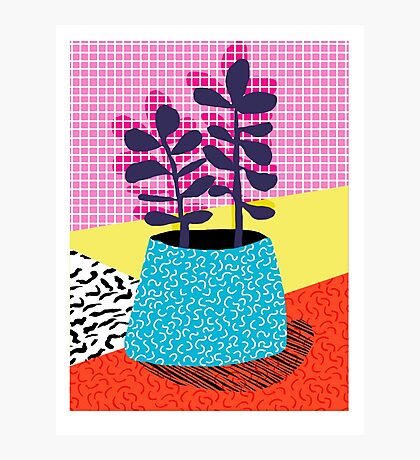 Shibby - neon 80's throwback potted plant indoor garden pink yellow red grid memphis los angeles palm springs resort hipster Photographic Print