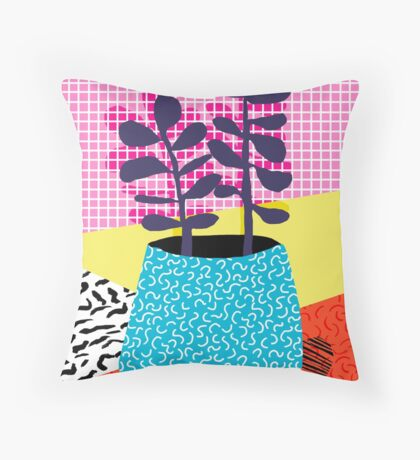 Shibby - neon 80's throwback potted plant indoor garden pink yellow red grid memphis los angeles palm springs resort hipster Throw Pillow
