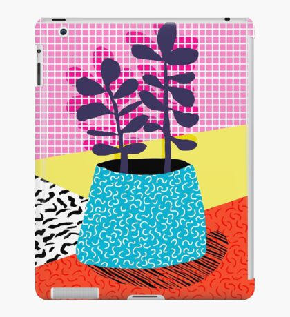 Shibby - neon 80's throwback potted plant indoor garden pink yellow red grid memphis los angeles palm springs resort hipster iPad Case/Skin