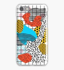 Wig Out - memphis style shapes retro pop art pattern dots stripes squiggles 1980's 80s 80's style grid iPhone Case/Skin
