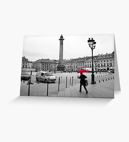 Paris: Red Rain Greeting Card