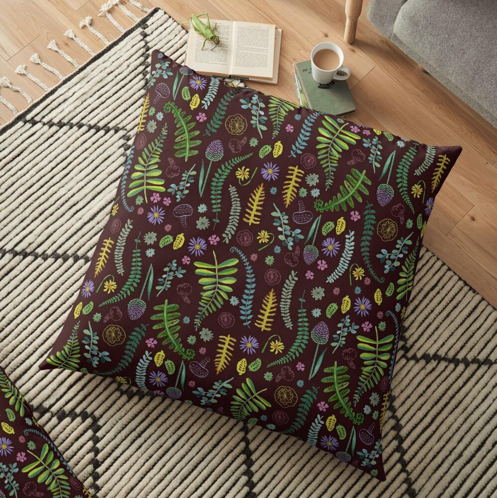 Dark and Wild Ferns Floor Pillow