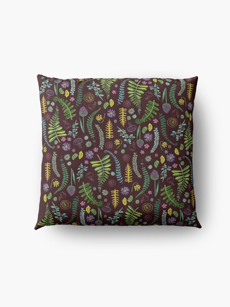 Alternate view of Dark and Wild Ferns Floor Pillow