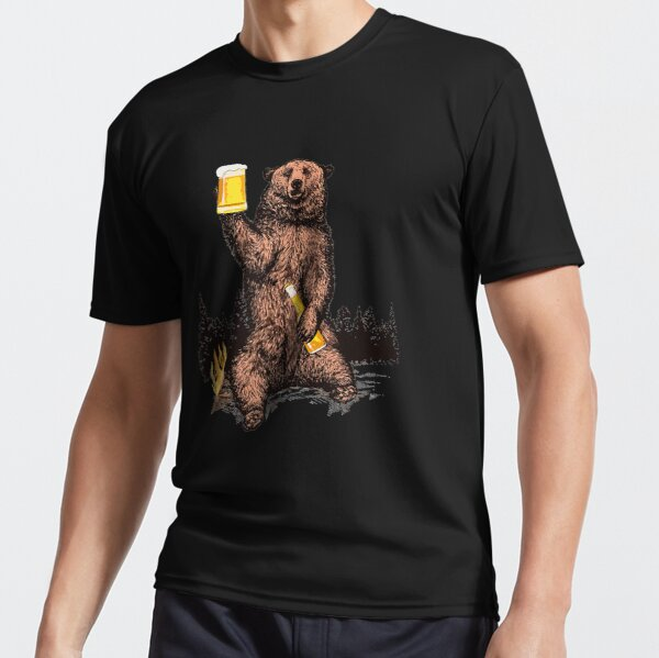 Bear Drinking Beer Camp Fire Woods Outdoor Active T-Shirt