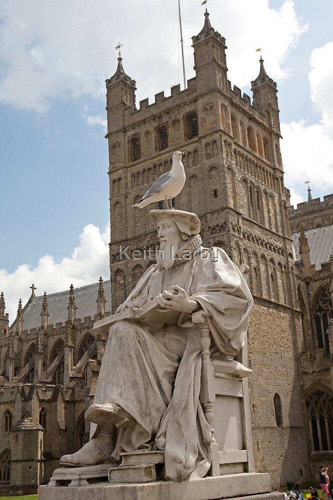 The Statue of Richard Hooker outside Exeter Cathedral topped by a Seagull by Keith Larby