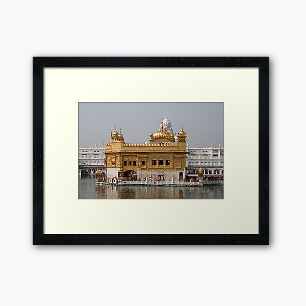 The Golden Temple in Amritsar - with the Amrit Sarovar and the Darbar Sahib Framed Art Print