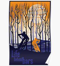 retro mountain bike poster illustration Poster