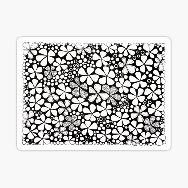 Jardin noir et blanc Sticker