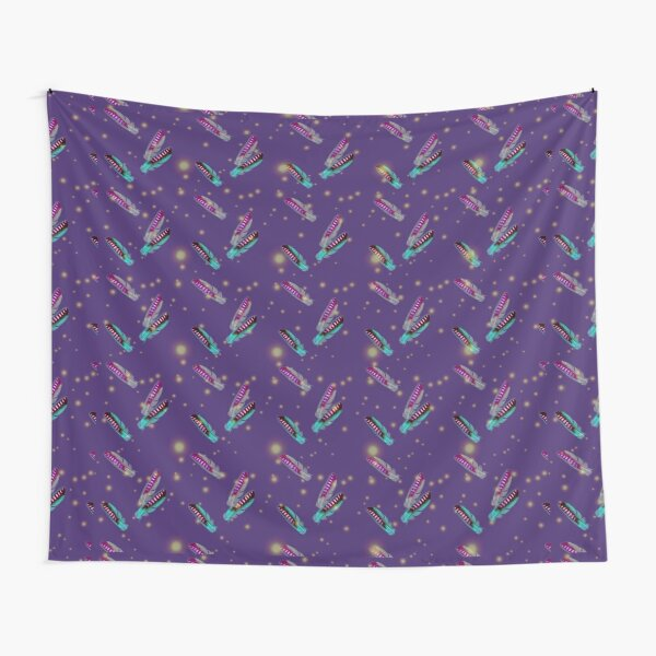 Jay feathers on purple pattern Tapestry