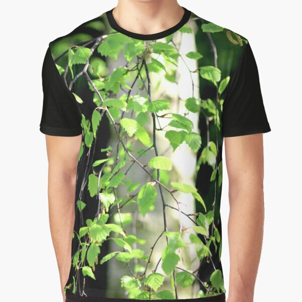 Birch tree leaves against the bark in the sunshine Graphic T-Shirt