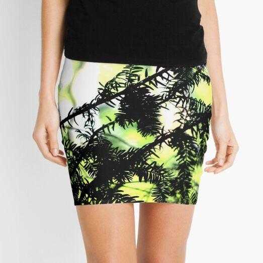 Yew tree branches silhouette Mini Skirt