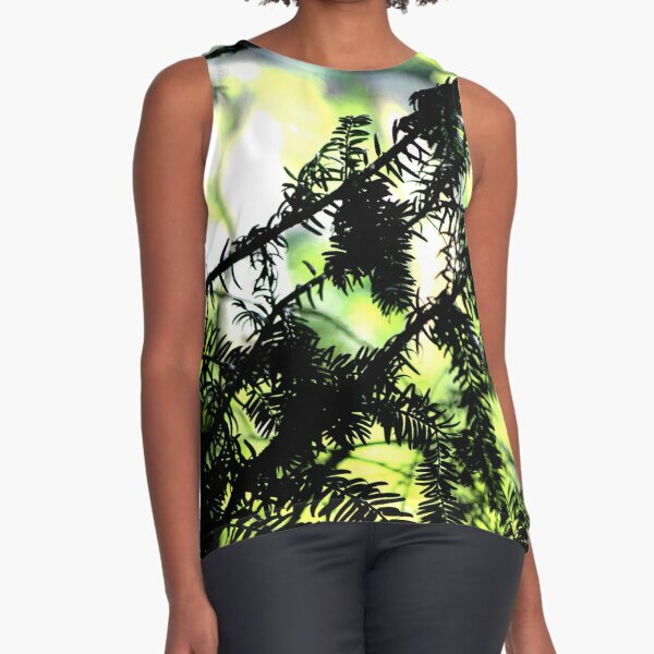 Yew tree branches silhouette Sleeveless Top