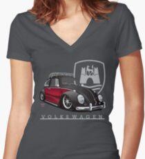Camiseta entallada de cuello en V Negro y rojo