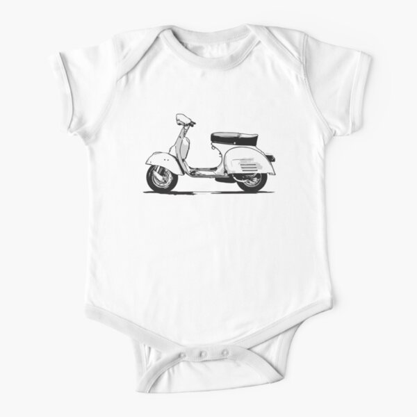 VESPA. Scooter, Wasp, Retro, Mod, Mods, Piaggio, Italy, Italian. Short Sleeve Baby One-Piece