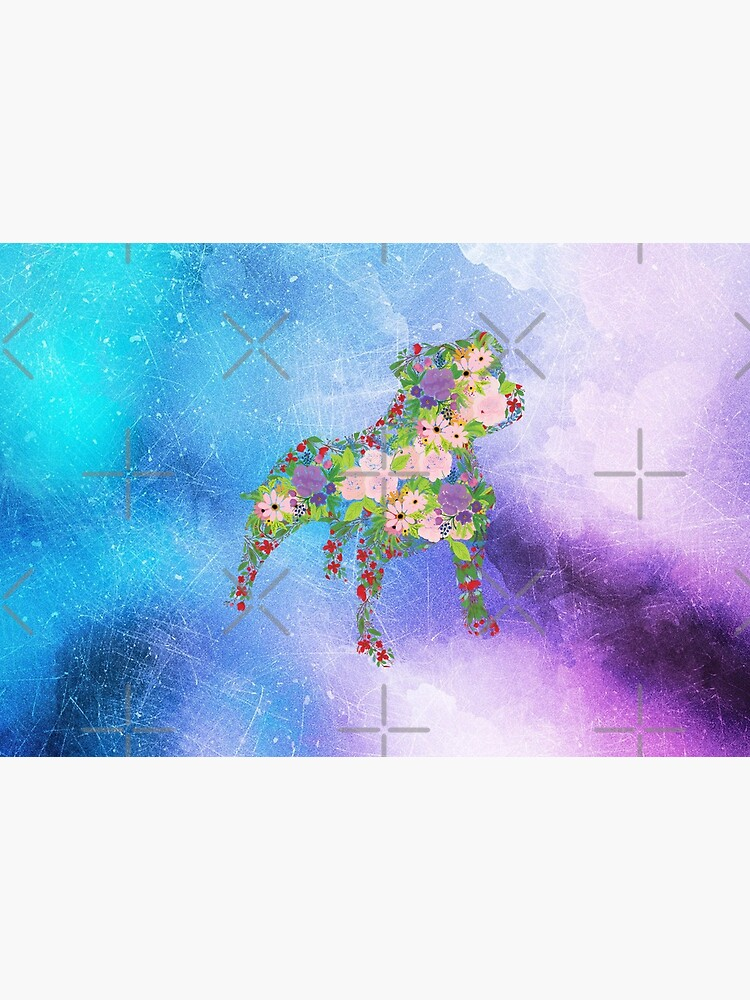 Distressed Watercolour Floral Staffordshire Bull Terrier by tribbledesign