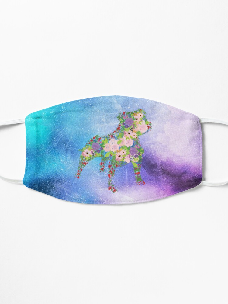 Alternate view of Distressed Watercolour Floral Staffordshire Bull Terrier Mask