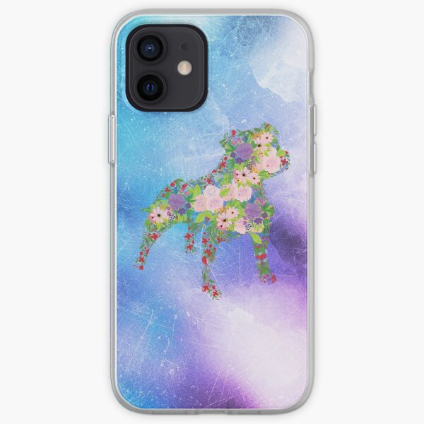 Distressed Watercolour Floral Staffordshire Bull Terrier iPhone Soft Case