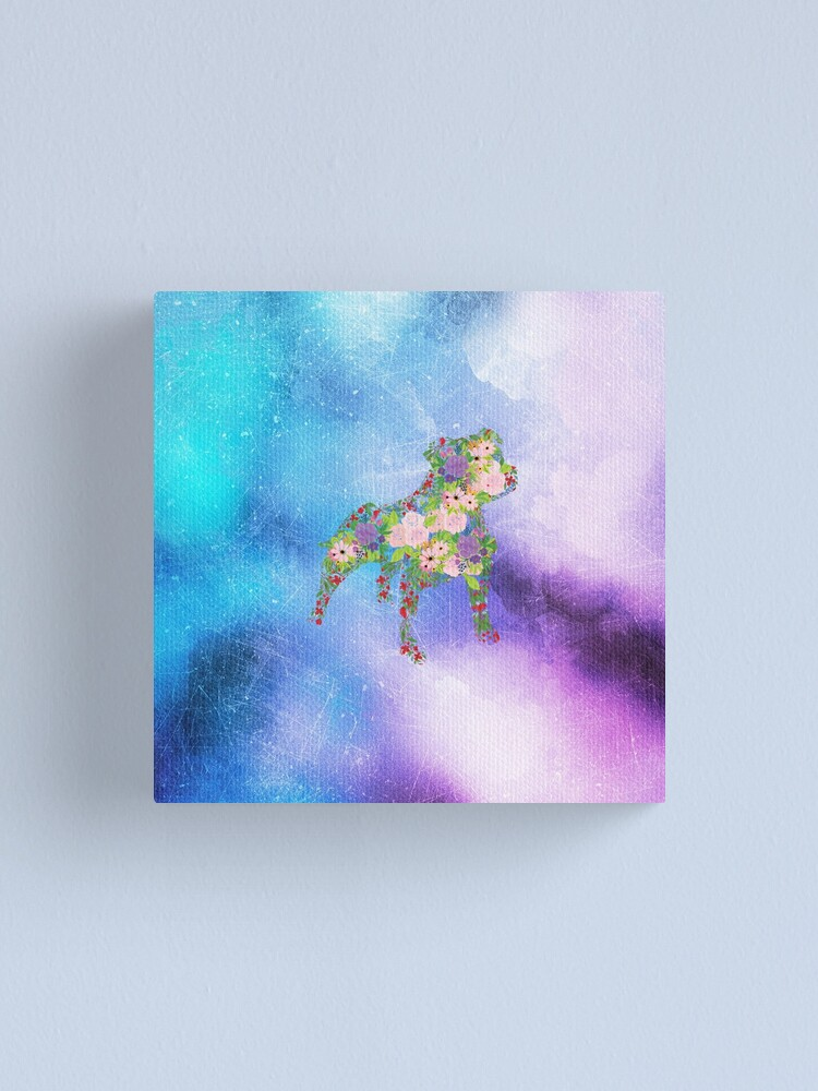 Alternate view of Distressed Watercolour Floral Staffordshire Bull Terrier Canvas Print