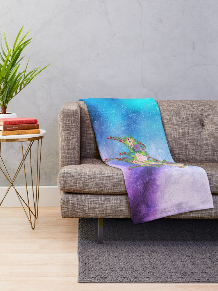Alternate view of Distressed Watercolour Floral Staffordshire Bull Terrier Throw Blanket